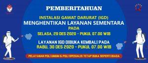 Penghentian Sementara IGD RS Panti Rapih untuk Desinfektan